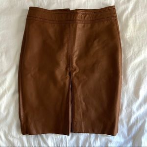 Caramel Brown Faux Leather Skirt by The Limited. 6